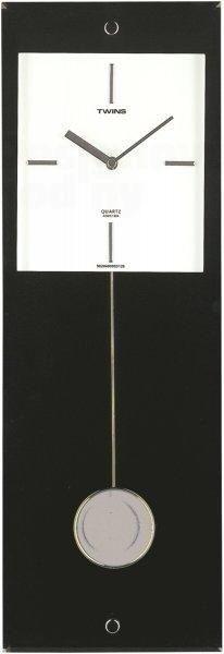 Moderní designové nástěnné kyvadlové hodiny Twins černé