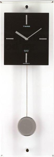 Moderní designové nástěnné kyvadlové hodiny Twins bílé