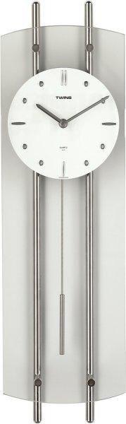 Skleněné dekorativní kyvadlové hodiny Twins 930 bílé