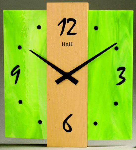 Designové nástěnné hodiny na stěnu, nástěnné hodiny na zeď skleněné H&H 1040 zelená SKLADEM