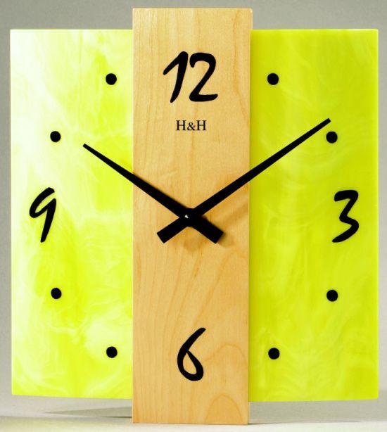Designové nástěnné hodiny na stěnu, nástěnné hodiny na zeď skleněné H&H 1041 žlutá