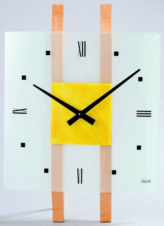 H&H Skleněné nástěnné hodiny na zeď H&H 1066 žlutá