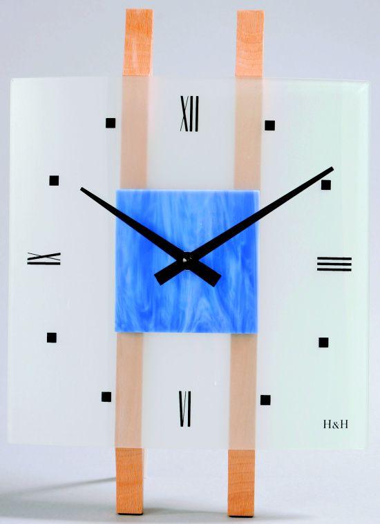 H&H Skleněné nástěnné hodiny na zeď H&H 1067 modrá
