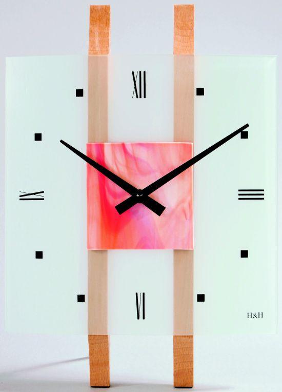 H&H Skleněné nástěnné hodiny na zeď H&H 1068 růžová