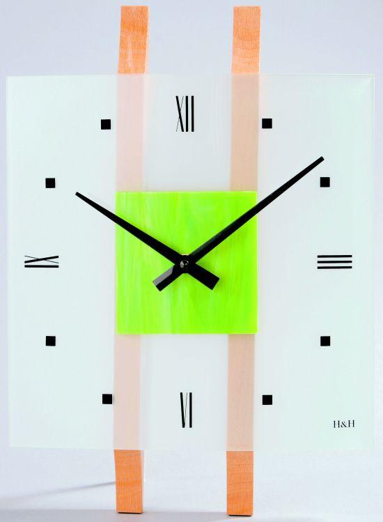 H&H Skleněné nástěnné hodiny na zeď H&H 1069 zelená