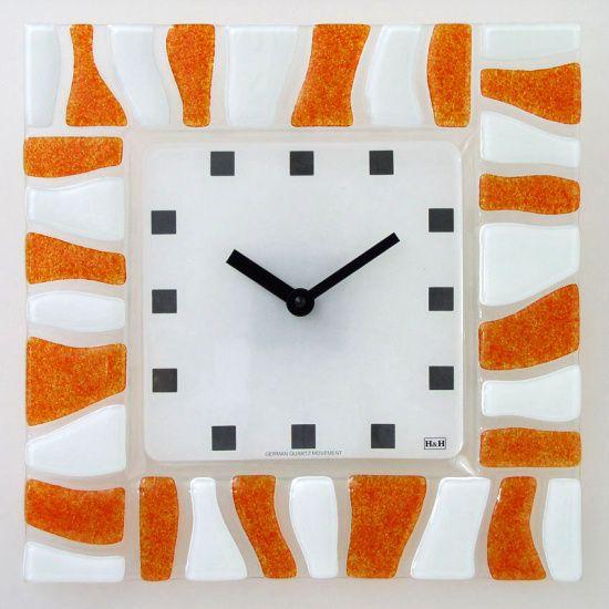 H&H Skleněné hodiny na zeď, na stěnu 1084.7, 1086.9 1084.7 oranžové