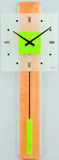 H&H Skleněné nástěnné hodiny na zeď, pendlovky, quartzové kyvadlové hodiny na stěnu H&H 1063 - zelené