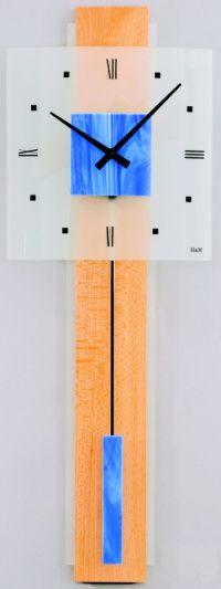 H&H Skleněné nástěnné hodiny na zeď, pendlovky, quartzové kyvadlové hodiny na stěnu H&H 1064 - modré