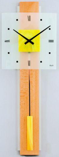 H&H Skleněné nástěnné hodiny na zeď, pendlovky, quartzové kyvadlové hodiny na stěnu H&H 1062 - žluté