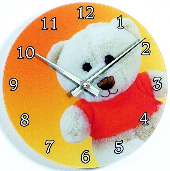 Skleněné nástěnné hodiny na zeď do dětského pokojíčku motiv MEDVÍDEK