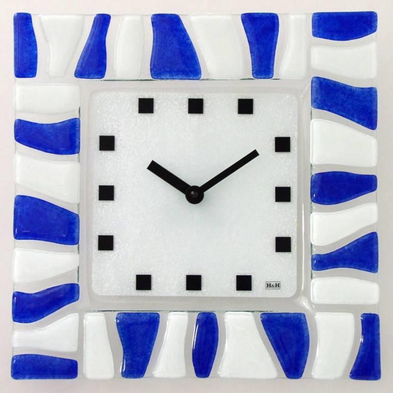 H&H Skleněné hodiny na zeď, na stěnu 1084.7, 1086.9 1086.9 modré
