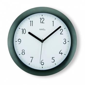 AMS Nástěnné hodiny rádiem řízené kulaté, nástěnné hodiny na zeď do kanceláře, školy, kuchyně AMS 5845 černá
