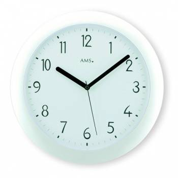 AMS Nástěnné hodiny rádiem řízené kulaté, nástěnné hodiny na zeď do kanceláře, školy, kuchyně AMS 5844 bílá