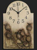 Nástěnné hodiny keramické - hnědé makovice