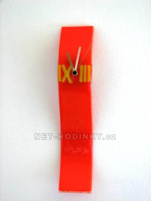 autorské hodiny Velké skleněné nástěnné hodiny Fusing oranžové ruční výroby