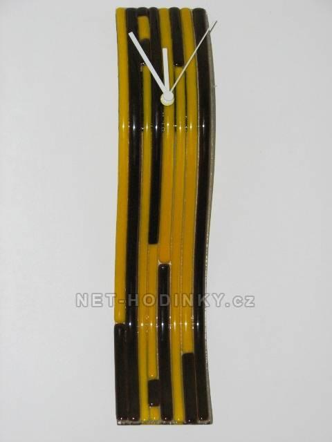 autorské hodiny Velké skleněné nástěnné hodiny Fusing žluto-hnědé ruční výroby